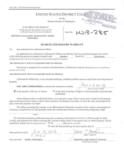 Seattle Warrant Search Motion To Dismiss With Prejudice