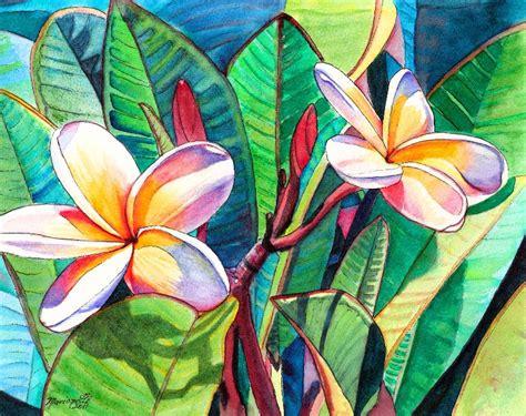 hawaiian flower painting plumeria garden watercolor painting original from kauai hawaii
