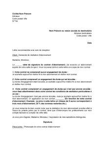 lettre de r 233 siliation d un abonnement 224 une salle de sport