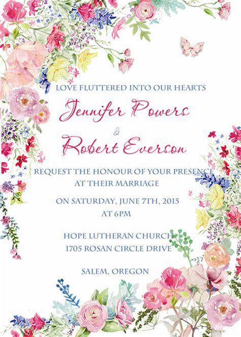 Kado Hadiah Gift Poster Ucapan Wedding Greeting 6 pink flower watercolor wedding invitations ewi400 flower watercolor
