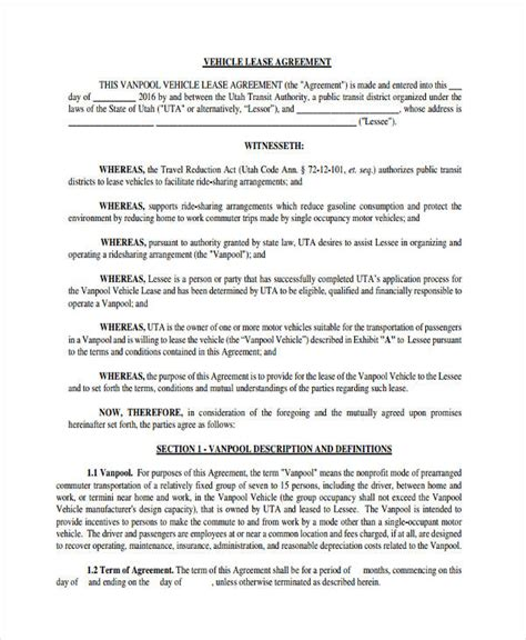 commercial vehicle lease agreement template vehicle lease agreement iowa lease application free iowa