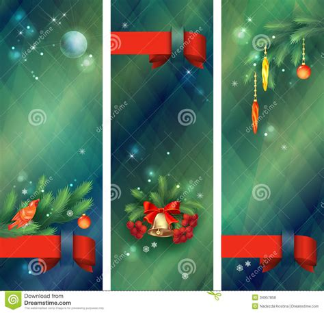 vertical ribbon on christmas tree vertical holidays banners stock vector image 34957858
