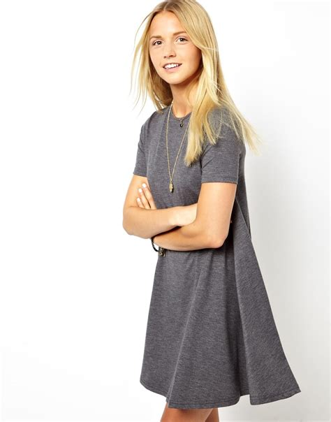 short sleeve swing dress asos swing dress with short sleeves in gray lyst