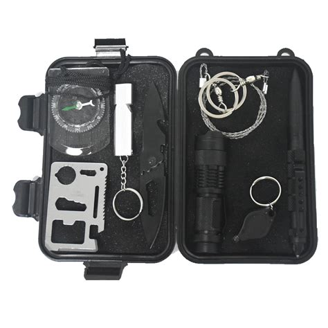 10 In 1 Equipment Cing Hiking Gear Survival Tool Compass Start 9 in 1 outdoor survival kit emergency bag field survival box self help box sos equipment for