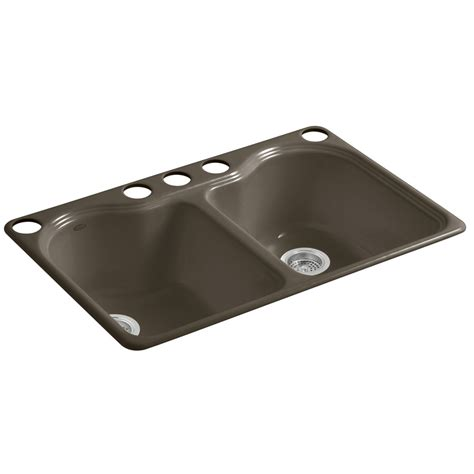 Koehler Kitchen Sinks Shop Kohler Hartland Suede Basin Undermount Kitchen Sink At Lowes