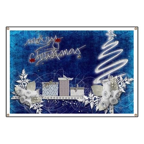 merry christmas  silver  blue banner  listing store