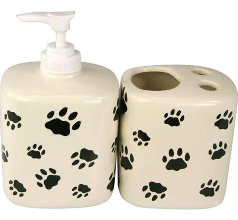 paw print ceramic soap dispenser toothbrush holder