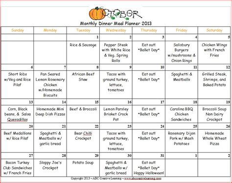 October 2013 Dinner Monthly Menu Planner   ABC Creative