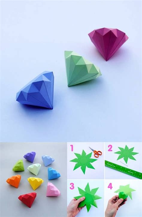 origami diamonds 3d papier diamanten