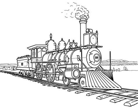 coloring page railcar railroad amazing steam train on railroad coloring page