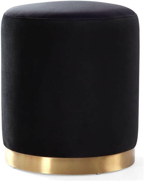 black velvet ottoman opal black velvet and gold metal ottoman from tov