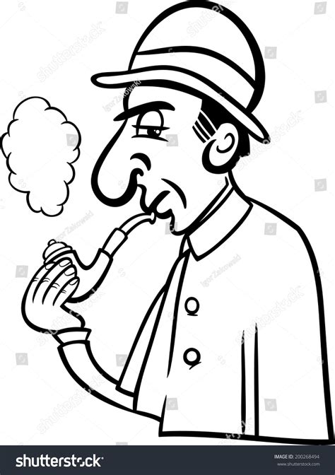 coloring book smoke black and white illustration of retro detective