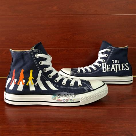 beatles sneakers converse shoes the beatles road painted canvas