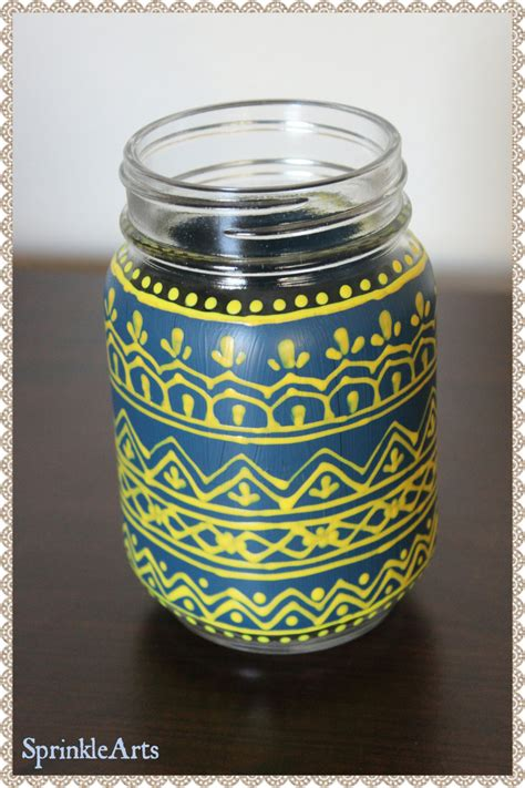 henna design on vase mason jar indian henna mehndi design vase candle holder