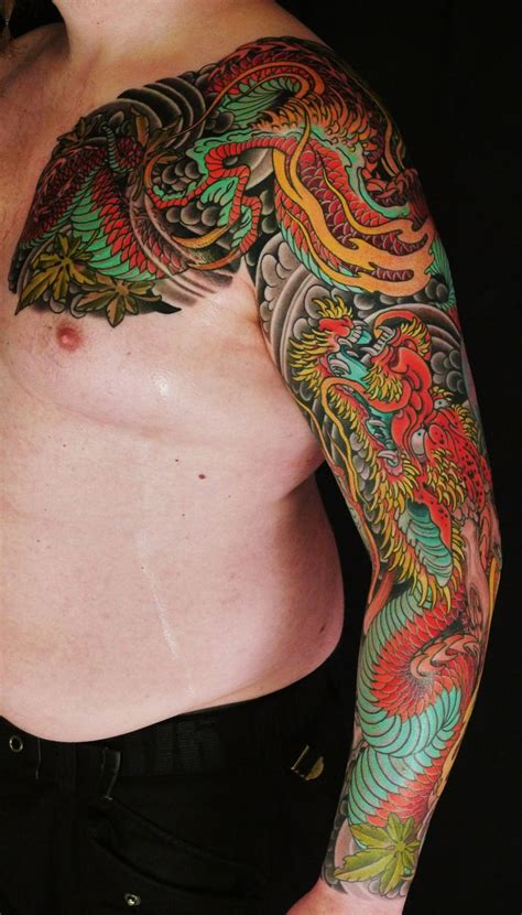 traditional japanese sleeve tattoo designs ccolored japanese design on left