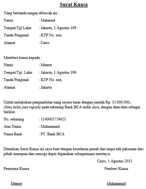 contoh surat kuasa bca finance wisata dan info sumbar