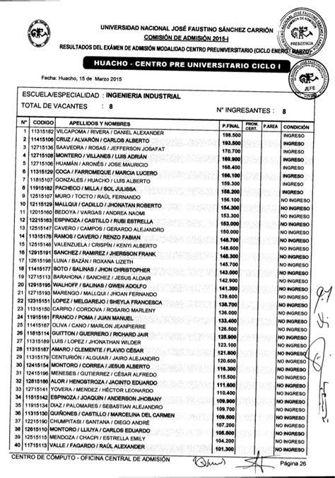 resultados examen de admision unjfsc modalidad ordinario 2015 resultados del ex 225 men de admisi 243 n modalidad cpu 2015 enero