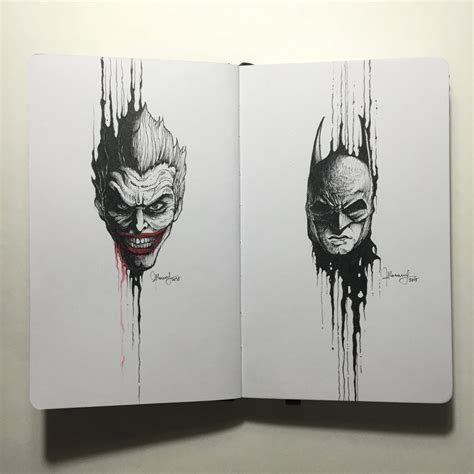sketchbook x the portraits the joker x batman by kerbyrosanes