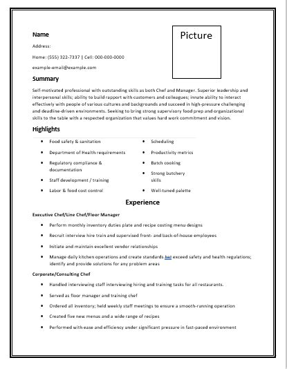 Chef Resume Template Free Word Templates Chef Resume Template Free