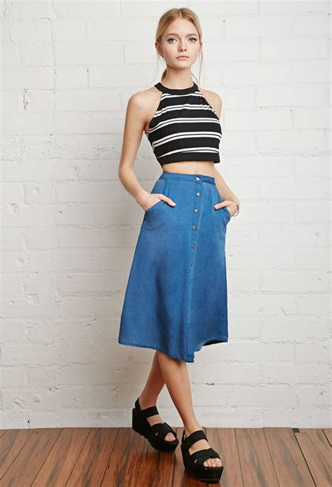 Buttoned Denim A Line Skirt 17 best how to wear denim skirts images on