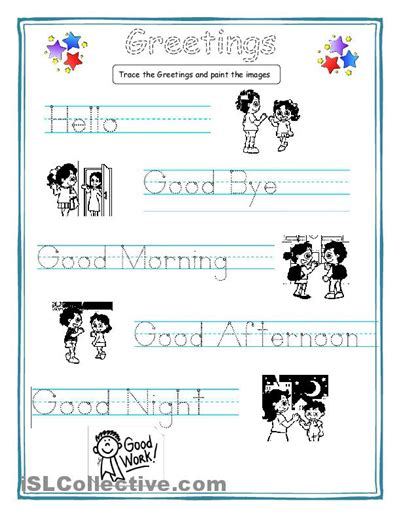 english for primary students greetings for kids worksheet free esl printable