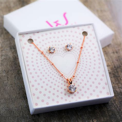 traditional solitaire necklace earring gift set  js jewellery notonthehighstreetcom