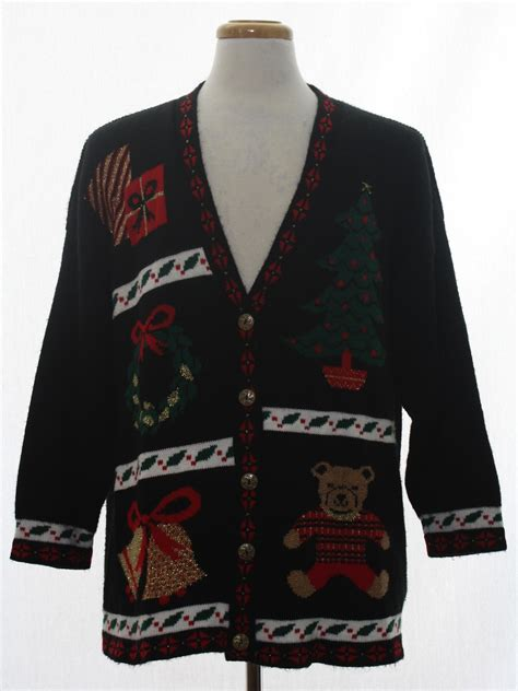 Longsleeve Black Gold 1933 Authentic 80s vintage cardigan sweater 80s authentic vintage nutcracker unisex black