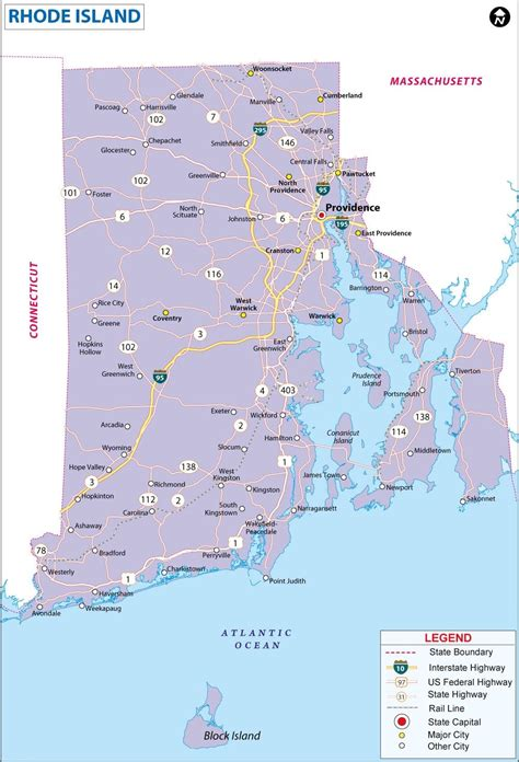 rhode island on map map of rhode island state map of america