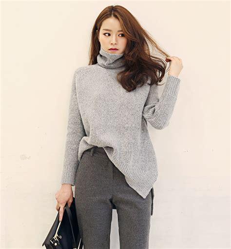 Sweatercwanita Korea Pop Sweater Grey dabagirl ribbed turtleneck knit top kstylick korean fashion k pop styles