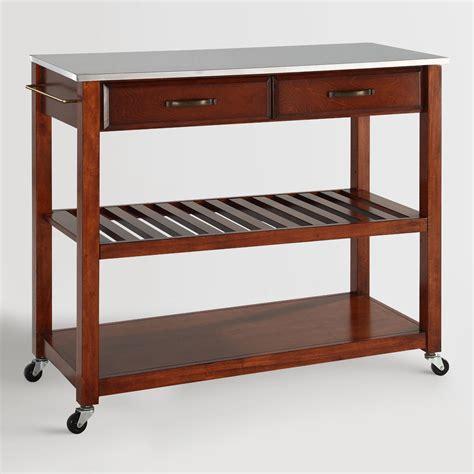kitchen cart stainless steel top cherry kitchen cart with stainless steel top