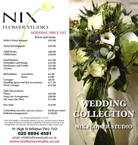 Wedding Flower Prices by Wedding Flower Price List Images