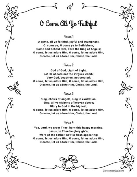 Free printable lyrics for O Come All Ye Faithful. Download