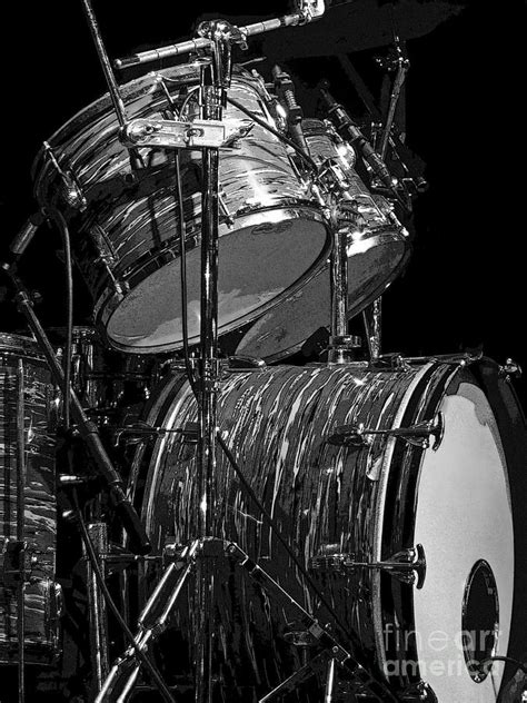 Set Aa Black White drum set black and white photograph by rich walter