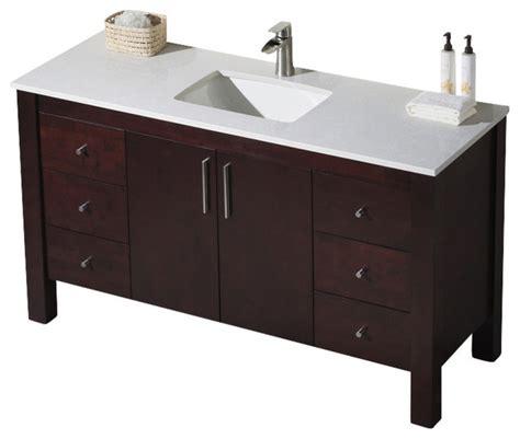 Parsons Vanity by Parsons 60 Single Vanity Chestnut White Sink Beige