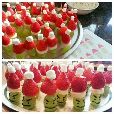 cute christmas appetizer idea fruit grinches recipes
