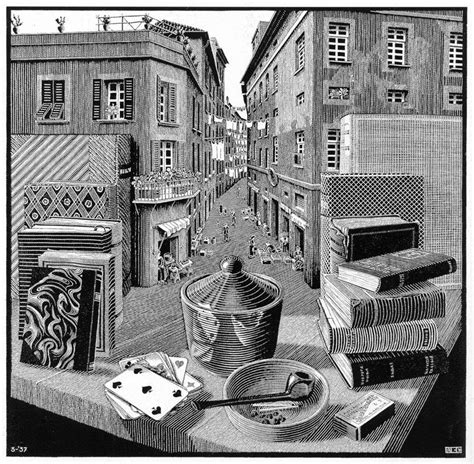 Spaceship Wall Stickers featured artworks m c escher still life and street