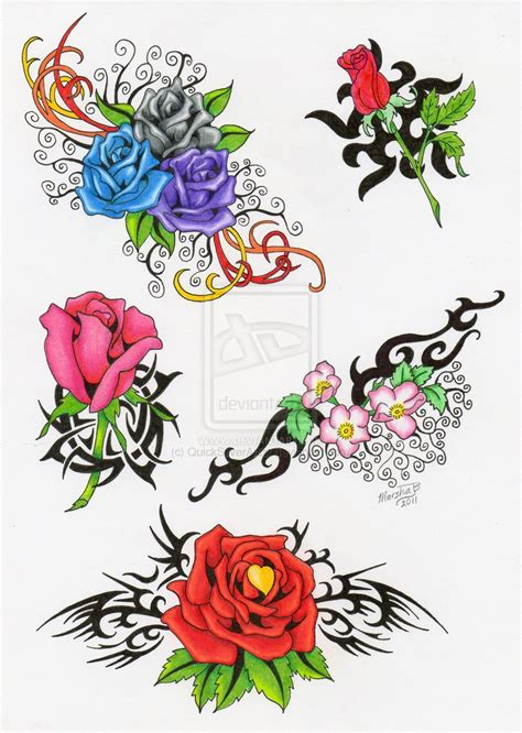 tattoo flash art roses flash by quicksilverartist on deviantart