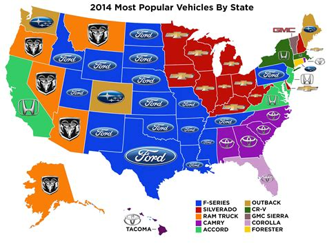 Most Popular Car Brand By State Map | the most popular new vehicle in each state not what you