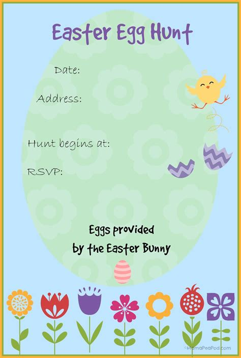 easter invitation template pea pod free printable easter egg hunt invitation