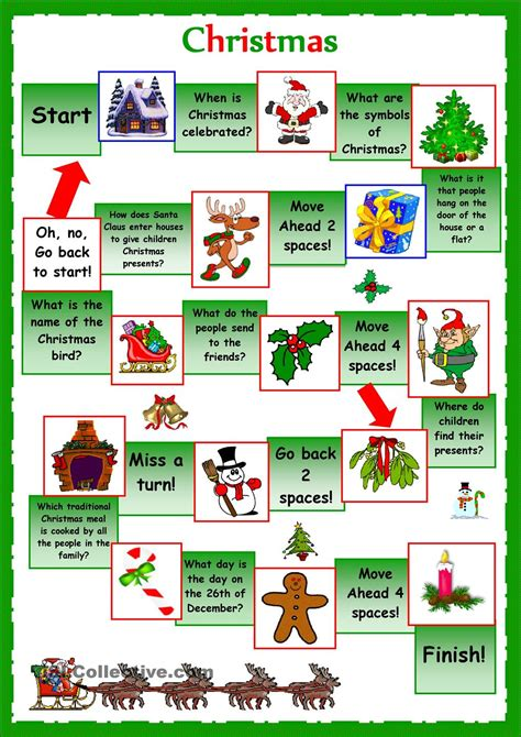 printable board games christmas esl christmas board game worksheet google search