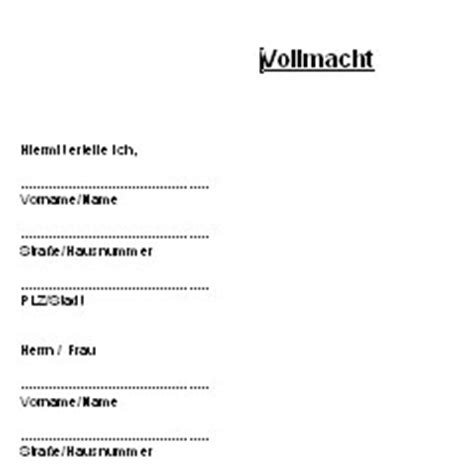 Vorlage Word Vollmacht Vollmacht Deutsche Anwaltshotline