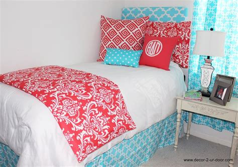 coral bed in a bag coral damask and girly blue bed in a bag set designer