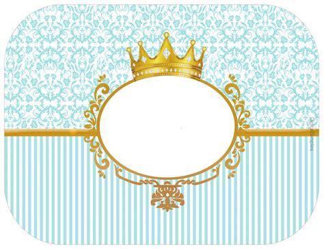 Label Aqua Botol 330ml Tema Prince kit personalizado tema quot coroa azul menino quot para imprimir convites digitais simples