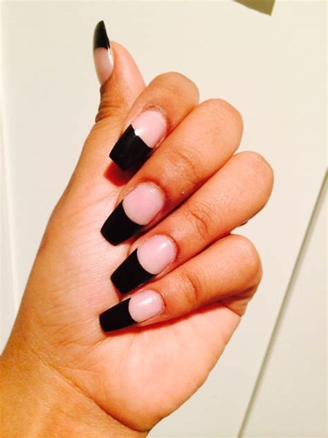 acrylic nails with black tip coffin shaped done by lee