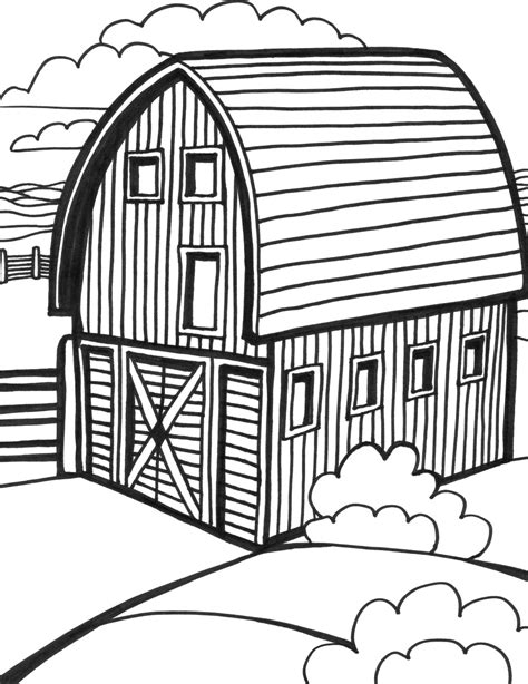 10 Images Of Horse And Barn Coloring Page Farm Barn Barn Coloring Pages Free
