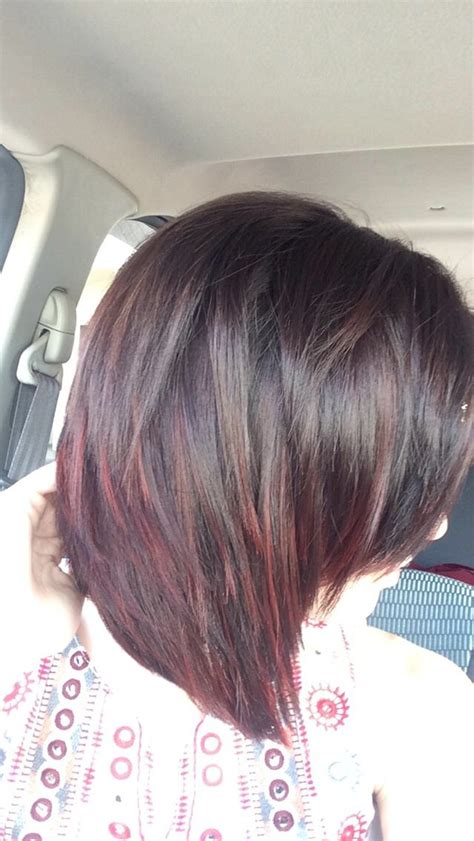 Dark brown to deep red ombre with short hair.   A beauty