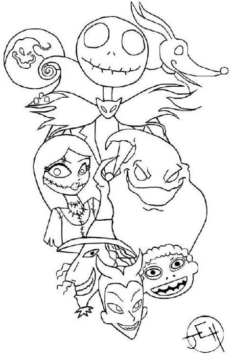 nightmare before christmas coloring pages for kids with