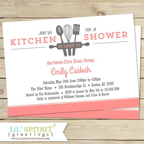 kitchen bridal shower invitation customize colors