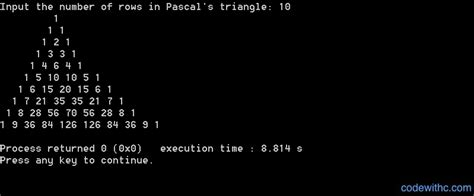 pattern programs in c without using loop c program for pascal s triangle code with c
