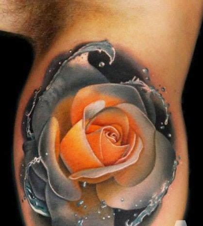 coloured rose tattoo colored on sleeve by andres acosta design of